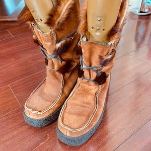 Shoes - Leather and fur winter boots  41